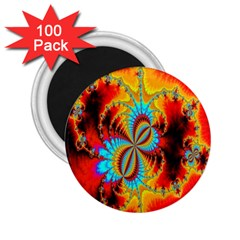 Crazy Mandelbrot Fractal Red Yellow Turquoise 2.25  Magnets (100 pack)