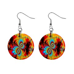 Crazy Mandelbrot Fractal Red Yellow Turquoise Mini Button Earrings by EDDArt