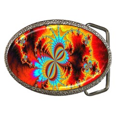 Crazy Mandelbrot Fractal Red Yellow Turquoise Belt Buckles