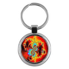 Crazy Mandelbrot Fractal Red Yellow Turquoise Key Chains (Round)