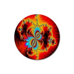 Crazy Mandelbrot Fractal Red Yellow Turquoise Rubber Round Coaster (4 Pack)  by EDDArt