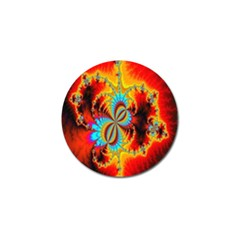 Crazy Mandelbrot Fractal Red Yellow Turquoise Golf Ball Marker (4 Pack) by EDDArt