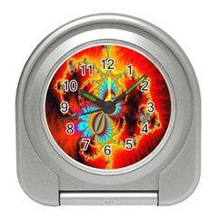 Crazy Mandelbrot Fractal Red Yellow Turquoise Travel Alarm Clocks