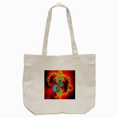 Crazy Mandelbrot Fractal Red Yellow Turquoise Tote Bag (cream) by EDDArt