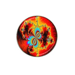 Crazy Mandelbrot Fractal Red Yellow Turquoise Hat Clip Ball Marker (4 Pack) by EDDArt
