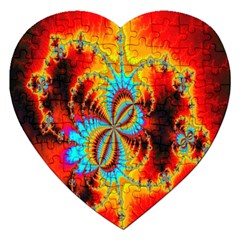 Crazy Mandelbrot Fractal Red Yellow Turquoise Jigsaw Puzzle (heart) by EDDArt