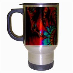 Crazy Mandelbrot Fractal Red Yellow Turquoise Travel Mug (Silver Gray)