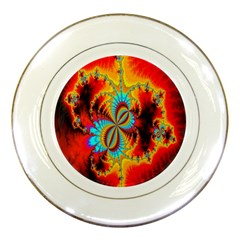 Crazy Mandelbrot Fractal Red Yellow Turquoise Porcelain Plates by EDDArt