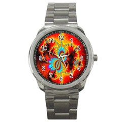 Crazy Mandelbrot Fractal Red Yellow Turquoise Sport Metal Watch by EDDArt