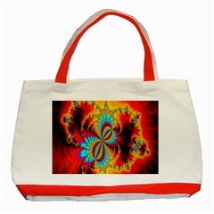 Crazy Mandelbrot Fractal Red Yellow Turquoise Classic Tote Bag (red) by EDDArt