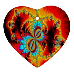 Crazy Mandelbrot Fractal Red Yellow Turquoise Heart Ornament (2 Sides)