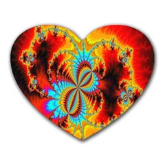 Crazy Mandelbrot Fractal Red Yellow Turquoise Heart Mousepads by EDDArt