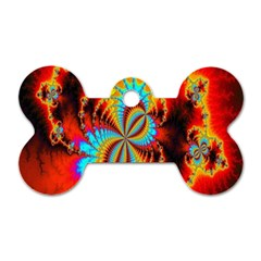 Crazy Mandelbrot Fractal Red Yellow Turquoise Dog Tag Bone (two Sides) by EDDArt