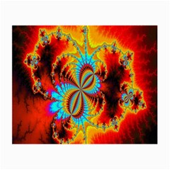 Crazy Mandelbrot Fractal Red Yellow Turquoise Small Glasses Cloth (2-Side)