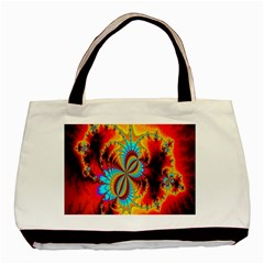 Crazy Mandelbrot Fractal Red Yellow Turquoise Basic Tote Bag (Two Sides)