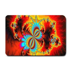 Crazy Mandelbrot Fractal Red Yellow Turquoise Small Doormat