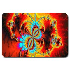 Crazy Mandelbrot Fractal Red Yellow Turquoise Large Doormat