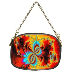 Crazy Mandelbrot Fractal Red Yellow Turquoise Chain Purses (Two Sides)