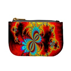 Crazy Mandelbrot Fractal Red Yellow Turquoise Mini Coin Purses by EDDArt