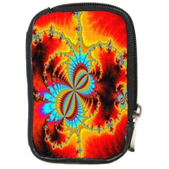 Crazy Mandelbrot Fractal Red Yellow Turquoise Compact Camera Cases by EDDArt