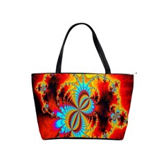 Crazy Mandelbrot Fractal Red Yellow Turquoise Shoulder Handbags by EDDArt