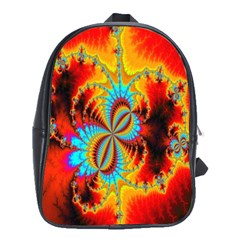 Crazy Mandelbrot Fractal Red Yellow Turquoise School Bags(Large)
