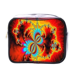Crazy Mandelbrot Fractal Red Yellow Turquoise Mini Toiletries Bags
