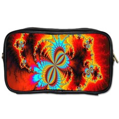 Crazy Mandelbrot Fractal Red Yellow Turquoise Toiletries Bags