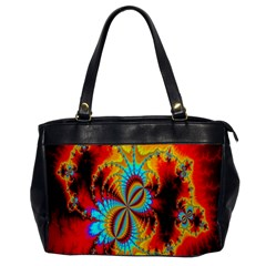 Crazy Mandelbrot Fractal Red Yellow Turquoise Office Handbags