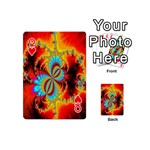 Crazy Mandelbrot Fractal Red Yellow Turquoise Playing Cards 54 (Mini)  Front - HeartQ