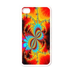 Crazy Mandelbrot Fractal Red Yellow Turquoise Apple Iphone 4 Case (white) by EDDArt