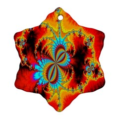 Crazy Mandelbrot Fractal Red Yellow Turquoise Ornament (snowflake)  by EDDArt