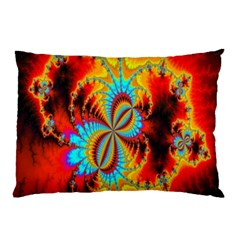 Crazy Mandelbrot Fractal Red Yellow Turquoise Pillow Case (two Sides) by EDDArt