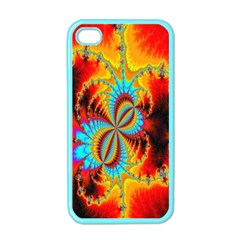 Crazy Mandelbrot Fractal Red Yellow Turquoise Apple Iphone 4 Case (color) by EDDArt