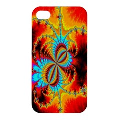 Crazy Mandelbrot Fractal Red Yellow Turquoise Apple Iphone 4/4s Premium Hardshell Case by EDDArt