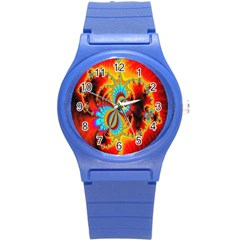 Crazy Mandelbrot Fractal Red Yellow Turquoise Round Plastic Sport Watch (s) by EDDArt