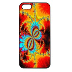 Crazy Mandelbrot Fractal Red Yellow Turquoise Apple Iphone 5 Seamless Case (black) by EDDArt