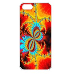 Crazy Mandelbrot Fractal Red Yellow Turquoise Apple Iphone 5 Seamless Case (white) by EDDArt