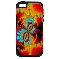 Crazy Mandelbrot Fractal Red Yellow Turquoise Apple Iphone 5 Hardshell Case (pc+silicone) by EDDArt