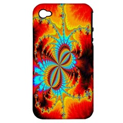 Crazy Mandelbrot Fractal Red Yellow Turquoise Apple iPhone 4/4S Hardshell Case (PC+Silicone)