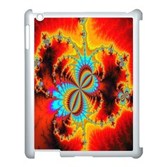 Crazy Mandelbrot Fractal Red Yellow Turquoise Apple iPad 3/4 Case (White)