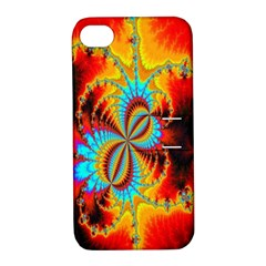 Crazy Mandelbrot Fractal Red Yellow Turquoise Apple iPhone 4/4S Hardshell Case with Stand
