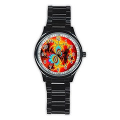 Crazy Mandelbrot Fractal Red Yellow Turquoise Stainless Steel Round Watch