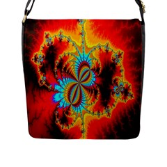 Crazy Mandelbrot Fractal Red Yellow Turquoise Flap Messenger Bag (l)  by EDDArt