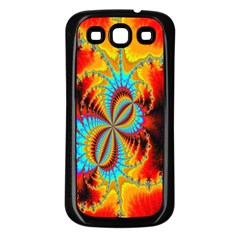Crazy Mandelbrot Fractal Red Yellow Turquoise Samsung Galaxy S3 Back Case (Black)