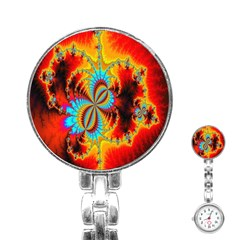 Crazy Mandelbrot Fractal Red Yellow Turquoise Stainless Steel Nurses Watch