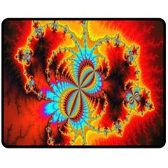 Crazy Mandelbrot Fractal Red Yellow Turquoise Double Sided Fleece Blanket (Medium)