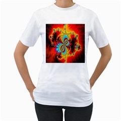 Crazy Mandelbrot Fractal Red Yellow Turquoise Women s T Shirt (white)  by EDDArt