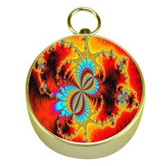Crazy Mandelbrot Fractal Red Yellow Turquoise Gold Compasses by EDDArt