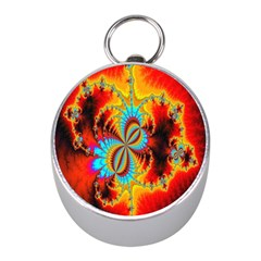 Crazy Mandelbrot Fractal Red Yellow Turquoise Mini Silver Compasses by EDDArt
